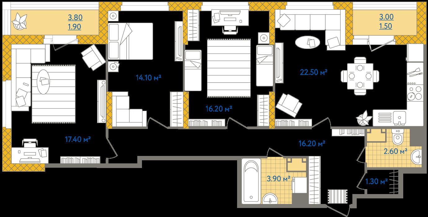 Планировка Трёхкомнатная квартира площадью 97.6 кв.м в ЖК «Жизнь»