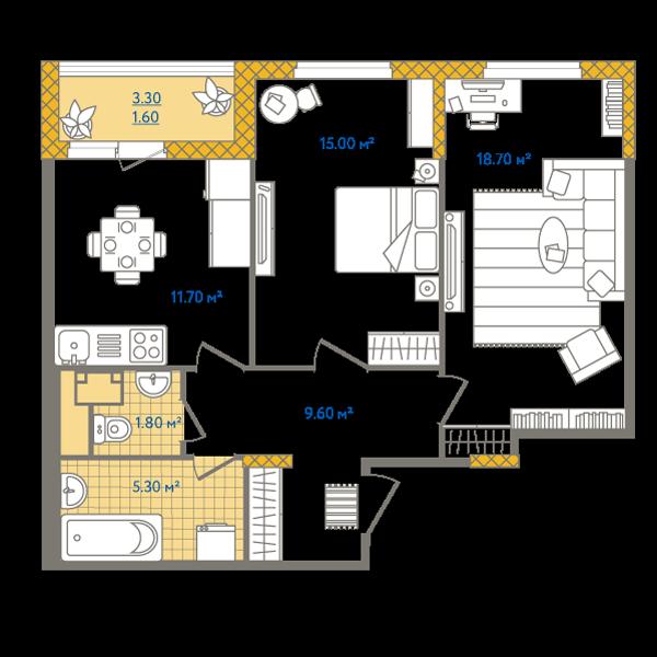 Планировка Двухкомнатная квартира площадью 63.7 кв.м в ЖК «Жизнь»
