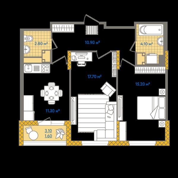Планировка Двухкомнатная квартира площадью 63.6 кв.м в ЖК «Жизнь»